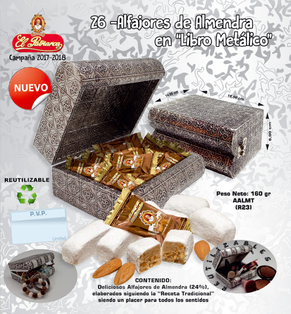 Libro metálico con Alfajores de almendra El Patriarca 150 g - Comercial H. Martín sa