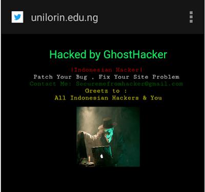 Indonesian Hackers Attack university of Ilorin's Website Again