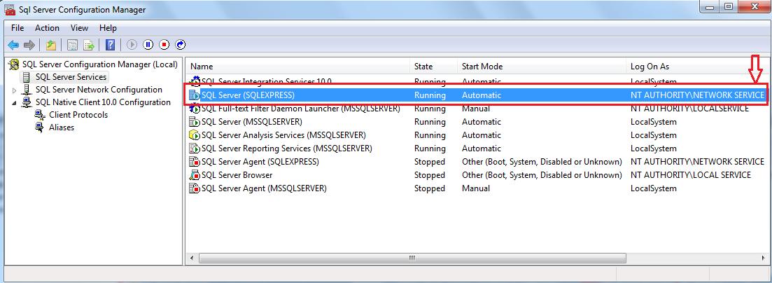 SQL Server (SQLEXPRESS)