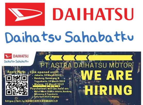 atau biasa disingkat dgn ADM ialah Agen Tunggal Pemegang Merk kendaraan beroda empat Daihatsu di Indon Lowongan Kerja Besar-Besaran PT. Astra Daihatsu Motor Tahun 2019