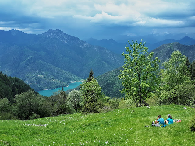 View over Ledro lake from the Dromae fields in Valle di Ledro