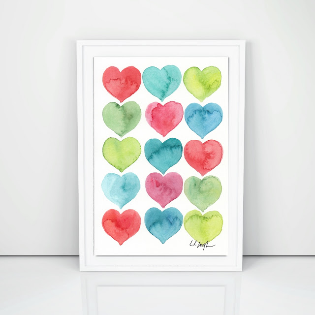 Watercolor Hearts Painting by Elise Engh