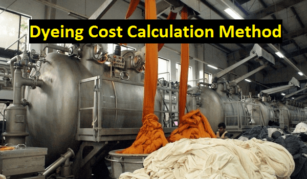 Dyeing cost calculation method in textile industry