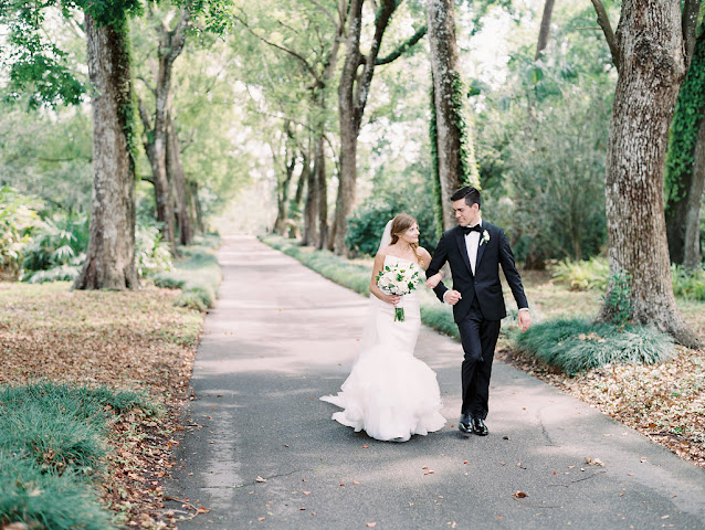 bride and groom taking a stroll