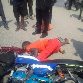 Graphic: Truck crushes okada rider to death in Lagos