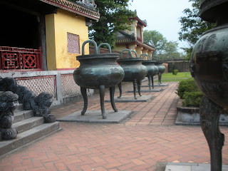 Urns Hien Lam Temple at the Citadel of Hue (Vietnam)