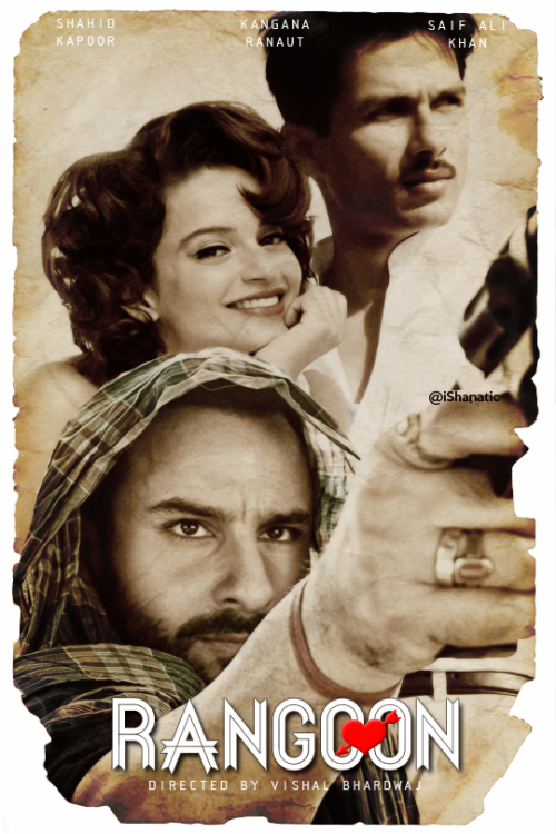Complete cast and crew of Rangoon (2016) bollywood hindi movie wiki, poster, Trailer, music list - Shahid Kapoor, Saif Ali Khan and Kangna Ranaut Movie release date February 19, 2016