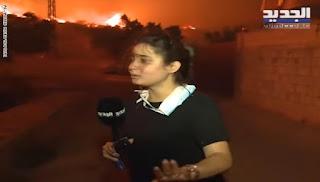 شاهد :مذيعة تلفزيون الجديد تبكي وتصرخ لإنقاذ الأهالي العالقين في الحرائق