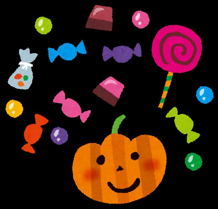 ハロウィンのイラスト「お菓子・キャンディー・チョコレート」