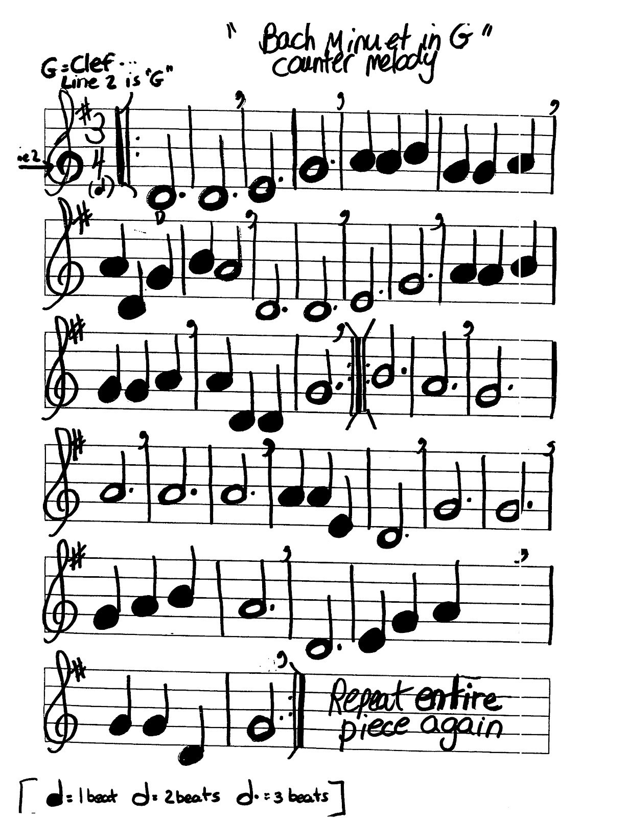 Miss Jacobson S Music Bach Minuet In G Counter Melody For Recorder Worksheet