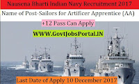 Nausena Bharti Indian Navy Recruitment 2017– Sailors for Artificer Apprentice (AA)