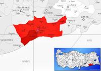 Kızıltepe ilçesinin nerede olduğunu gösteren harita