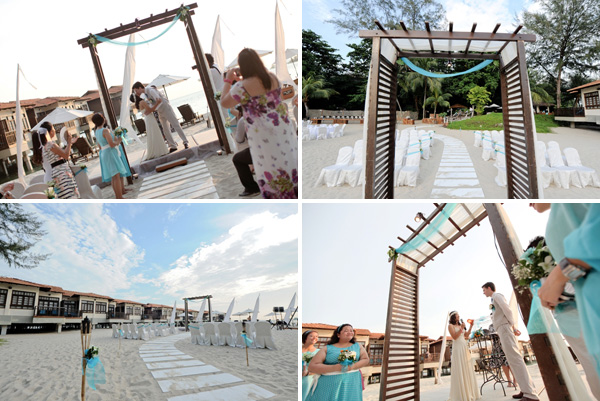 solemnization under wooden arch, paved aisle