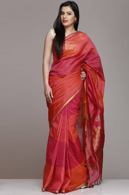 Beautiful onion pink and dark color peach silk cotton saree.