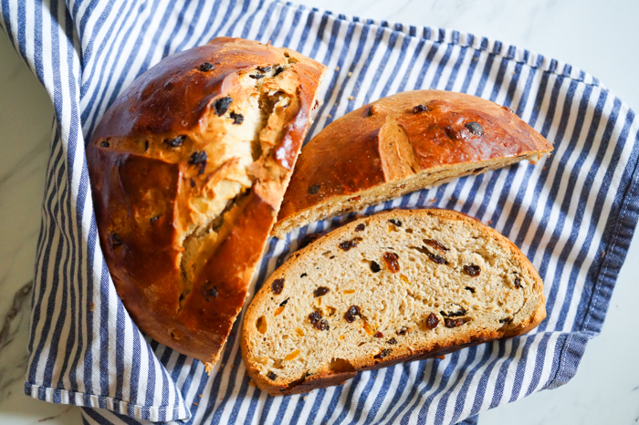 Irish barmbrack, a traditional Irish sweet bread with whiskey-soaked fruit and candied orange peel.