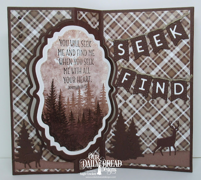 ODBD Seek Me, ODBD Custom Vintage Label Flip Fold with Layers Dies, ODBD Custom Vintage Labels Dies, ODBD Custom Double Pierced Vintage Labels Dies, ODBD Custom Curvy Slopes Dies, ODBD Custom Trees and Deer Dies, ODBD Custom Alphabet Flags Dies, ODBD Ephemera Essentials Paper Collection, Card Designer Angie Crockett