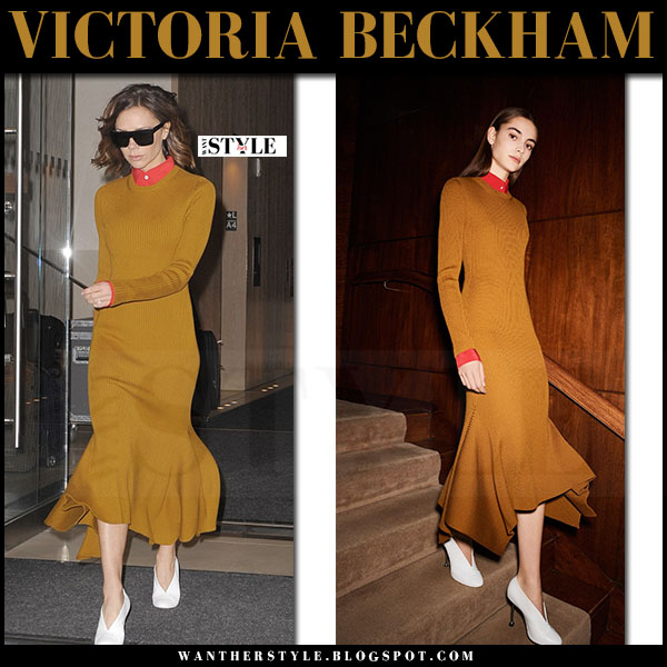 Victoria Beckham in mustard knit dress what she wore