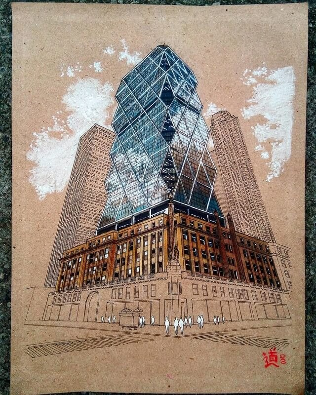 04-Hearst-Tower-D-Oquendo-Colored-Architectural-Urban-Sketches-www-designstack-co