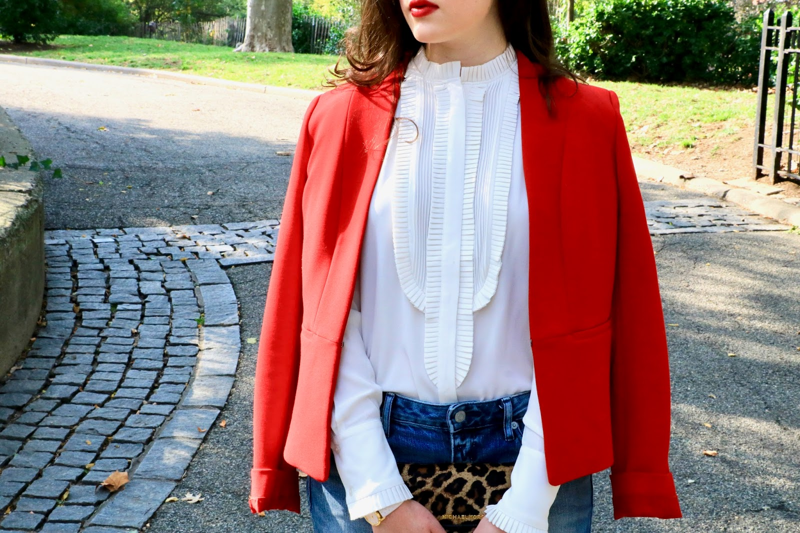 white ruffle blouse blogger