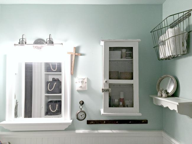 How to Repurpose a Clock into a Farmhouse Bathroom Cabinet