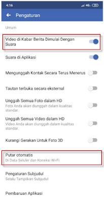 nonaktifkan putar otomatis video fb