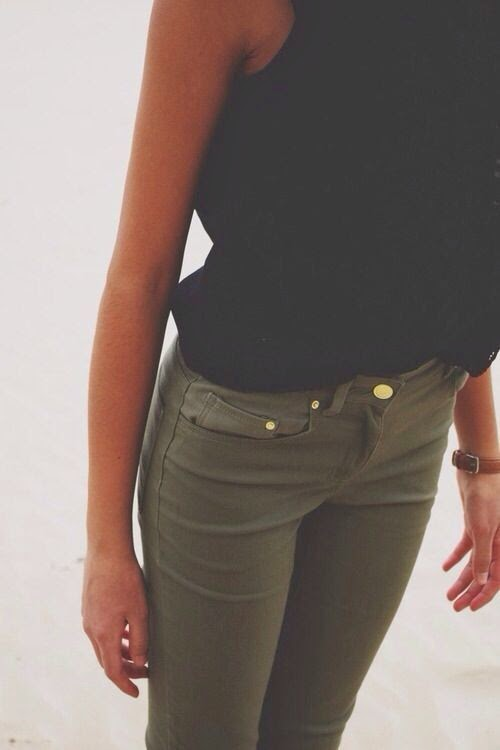 Olive Green Jeans with Black Top