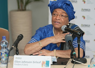 Politician and economist, Liberian President Ellen Johnson Sirleaf is the first female elected president in Africa.