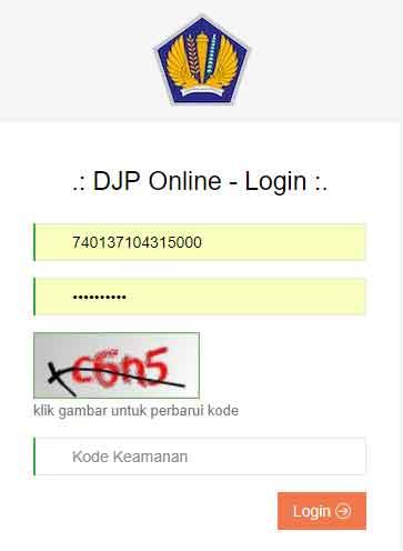 login djp online atau e-filling
