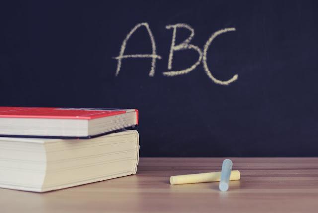 Pizarra ABC con libros y tizas