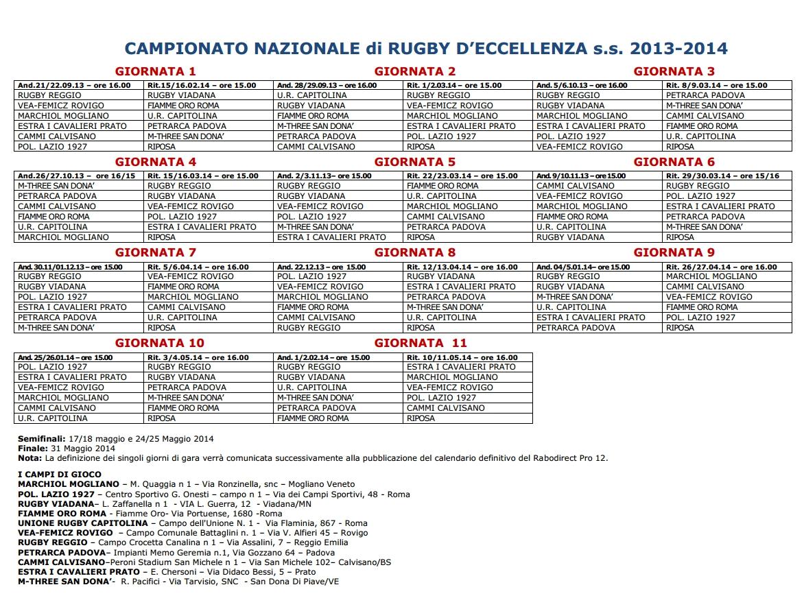 Calendario Eccellenza Rugby.Calendario Eccellenza 2013 2014