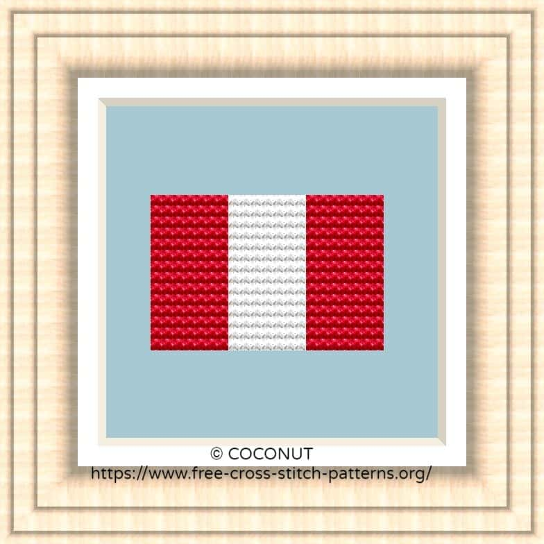 NATIONAL FLAG OF PERU CROSS STITCH CHART