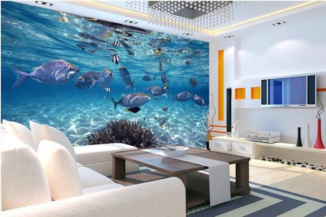 häftig tapet vardagsrum akvarium fiskar vatten