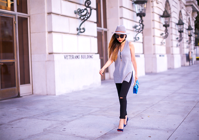 1 state Colorblock Sleeveless Knit Cotton Tunic, baublebar choker, hat attack hat, valentino lock bag, 7fam baire denim, 7fam jeans, christian louboutin pumps, karen walker super dumper sunglasses, how to transition into fall, knit tunic, san francisco street style, san francisco fashion blog