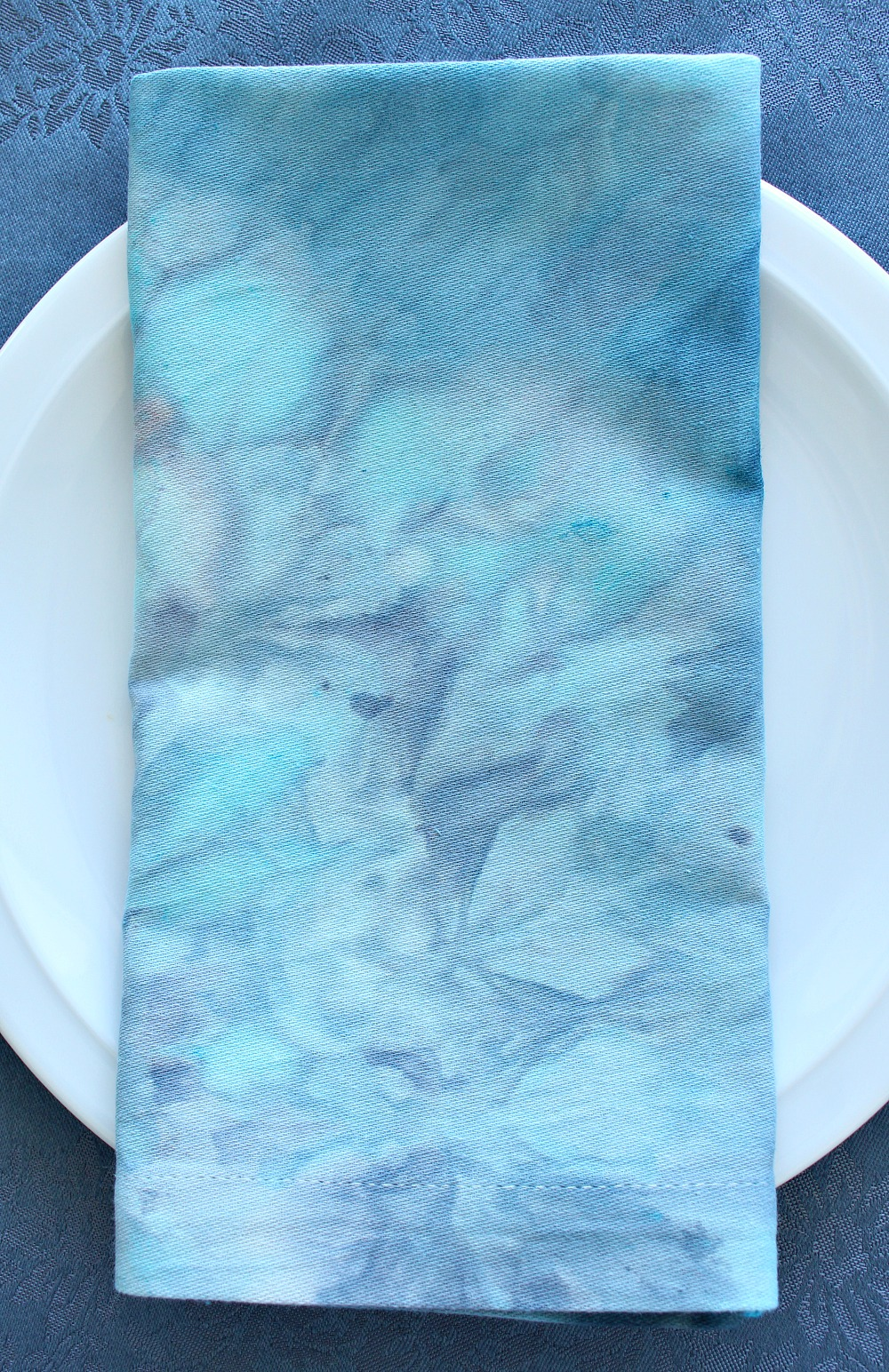 Turquoise and Grey Ice Dyed Fabric Napkin by @danslelakehouse