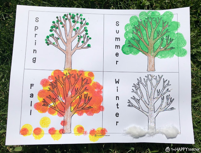 Printable tree art project for spring, summer, winter, fall