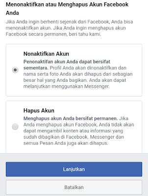 menutup akun facebook sementara