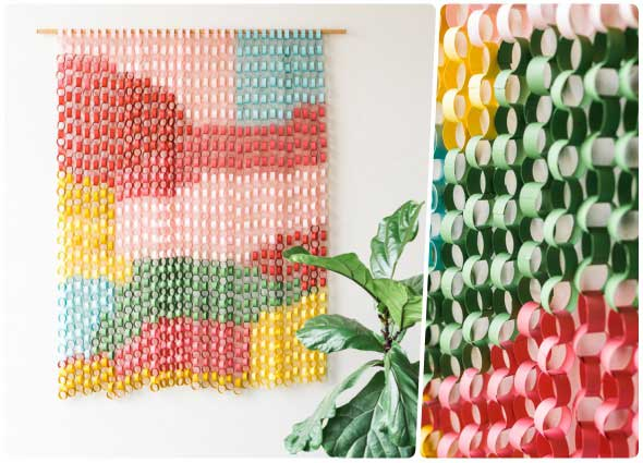 Este tapiz con aros de papel para colgar en la pared es una genialidad y en cualquier rincón puede resultar encantador, y resaltar cualquier ambiente