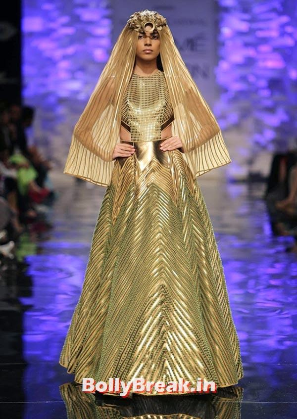 A model in an Amit Aggarwal creation, Bizarre Dresses from Fashion Show - LFW