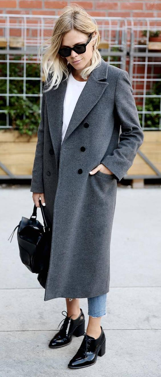 what to wear with a grey coat :  bag + top + jeans + heels
