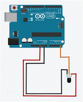 Rangkaian Membaca suhu dengan Sensor Suhu LM35 dengan arduino