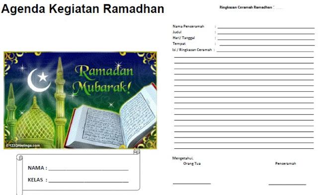 Buku Agenda Kegiatan Siswa Bulan Ramadhan