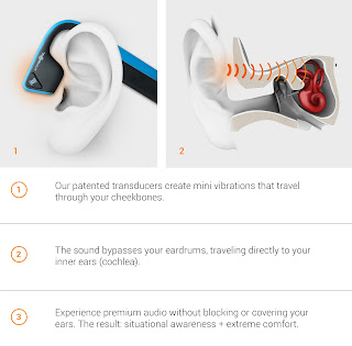 diagram of how bone conduction audio technology works
