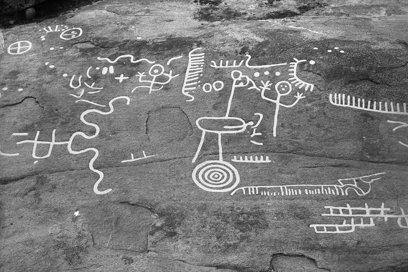 A prehistoric rock carving from the Bronze Age (c. 1800–500 B.C.) on a granite rock east of Evenstorp, Dalsland. 1931.