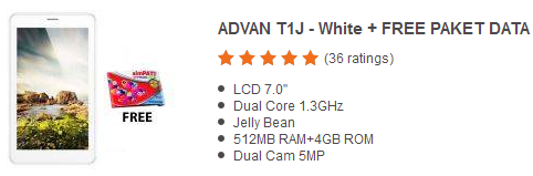 Harga Tablet Advan Vandroid T1J