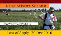 Agricultural Scientists Board Recruitment 2017