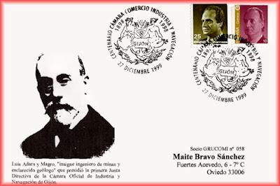 Tarjeta del matasellos del centenario de la Cámara de Comercio, Industria y Navegación de Gijón