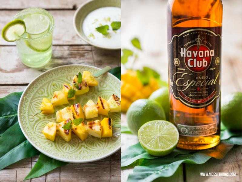 Ananas-Mango-Spiesse mit Havana Club Anejo Especial