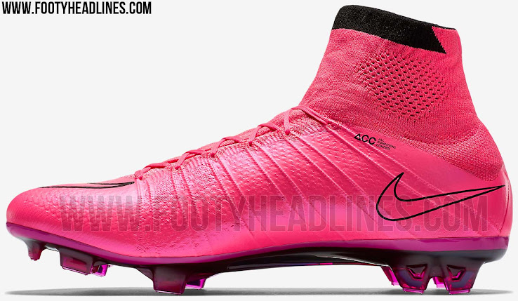 The new Hyper Pink Nike Mercurial Superfly Summer 2015 Cleats are entirely  pink with a black outlined Swoosh and a dark pink carbon fibre sole plate. ec9a5e953c01