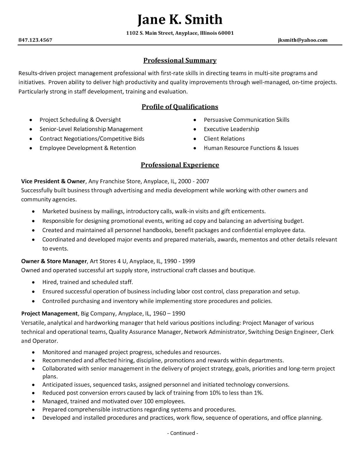 great project manager resume experience resumes