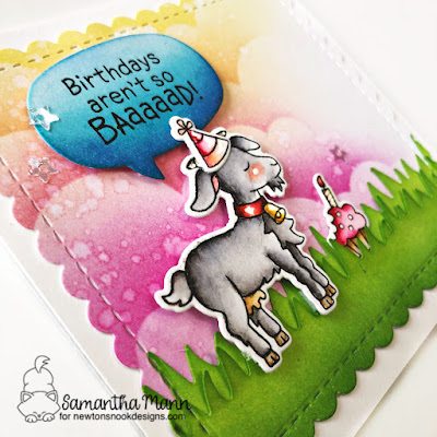 Birthdays aren't so Baaaad Card by Samantha Mann for Newton's Nook Designs, Birthday Card, Cards, Handmade Cards, Distress Inks, Ink Blending, Sequins #brithday #birthdaycards #newtonsnook #bleat #goat #distressinks #inkblending